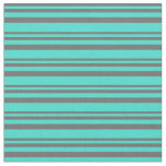 [ Thumbnail: Dim Gray and Turquoise Stripes Fabric ]