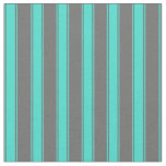 [ Thumbnail: Dim Gray and Turquoise Stripes/Lines Pattern Fabric ]