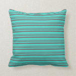 [ Thumbnail: Dim Gray and Turquoise Stripes Throw Pillow ]