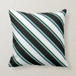 [ Thumbnail: Dim Gray, Aquamarine, Black, Mint Cream & Blue Throw Pillow ]