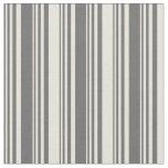 [ Thumbnail: Dim Gray & Beige Stripes Pattern Fabric ]