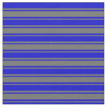 [ Thumbnail: Dim Gray & Blue Colored Striped/Lined Pattern Fabric ]