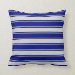 [ Thumbnail: Dim Gray, Cornflower Blue, Blue, Light Grey, Black Throw Pillow ]