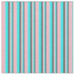 [ Thumbnail: Dim Gray, Cyan, and Light Pink Stripes Pattern Fabric ]