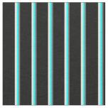 [ Thumbnail: Dim Gray, Cyan, Beige & Black Colored Stripes Fabric ]