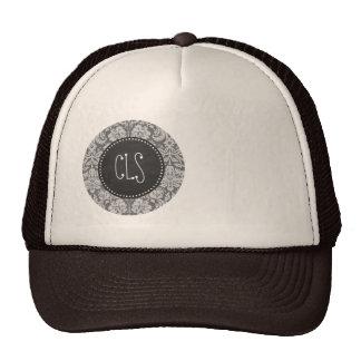 Dim Gray Damask; Retro Chalkboard Hat