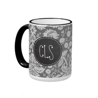 Dim Gray Damask; Retro Chalkboard Ringer Coffee Mug