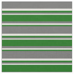 [ Thumbnail: Dim Gray, Dark Green, and Beige Stripes Fabric ]
