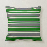 [ Thumbnail: Dim Gray, Dark Green, and Beige Stripes Pillow ]