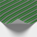 [ Thumbnail: Dim Gray & Dark Green Colored Pattern Wrapping Paper ]