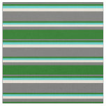 [ Thumbnail: Dim Gray, Dark Green, Turquoise, and Bisque Lines Fabric ]