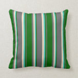 [ Thumbnail: Dim Gray, Dark Green, Turquoise, and Bisque Lines Throw Pillow ]