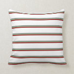 [ Thumbnail: Dim Gray, Dark Sea Green, Dark Red, and White Throw Pillow ]