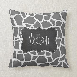 Dim Gray Giraffe Animal Print; Chalkboard Pillow