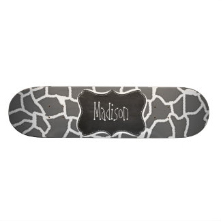 Dim Gray Giraffe Animal Print; Chalkboard Skateboard Deck