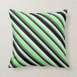 [ Thumbnail: Dim Gray, Green, Mint Cream, and Black Colored Throw Pillow ]