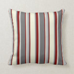[ Thumbnail: Dim Gray, Grey, Beige, and Maroon Colored Lines Throw Pillow ]
