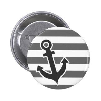 Dim Gray Horizontal Stripes Nautical Anchor Pinback Buttons