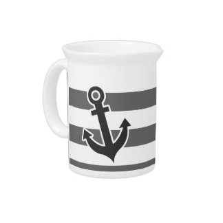 Dim Gray Horizontal Stripes; Nautical Anchor Pitcher