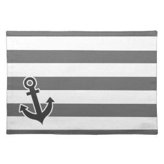 Dim Gray Horizontal Stripes Nautical Anchor Place Mat