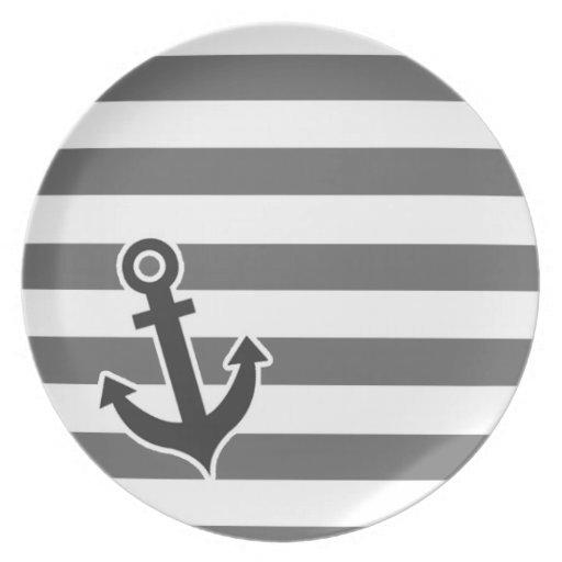 Dim Gray Horizontal Stripes; Nautical Anchor Plate