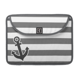 Dim Gray Horizontal Stripes; Nautical Anchor Sleeves For MacBooks