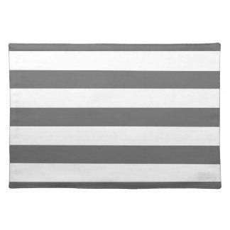 Dim Gray Horizontal Stripes Place Mats