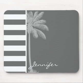 Dim Gray Horizontal Stripes; Summer Palm Mouse Pad