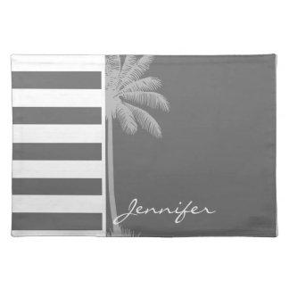 Dim Gray Horizontal Stripes Summer Palm Place Mats