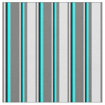 [ Thumbnail: Dim Gray, Lavender, Black & Cyan Colored Stripes Fabric ]