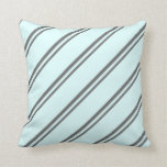 [ Thumbnail: Dim Gray & Light Cyan Pattern Throw Pillow ]