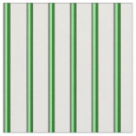 [ Thumbnail: Dim Gray, Light Green, Dark Green & White Stripes Fabric ]