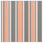 [ Thumbnail: Dim Gray, Light Salmon & Mint Cream Pattern Fabric ]