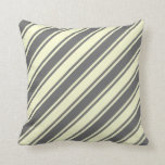 [ Thumbnail: Dim Gray & Light Yellow Colored Stripes Pillow ]