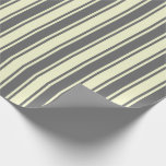 [ Thumbnail: Dim Gray & Light Yellow Colored Stripes Wrapping Paper ]