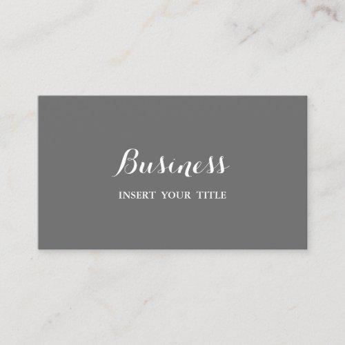 Dim Gray Minimalist Trendy Elegant Calligraphic Business Card