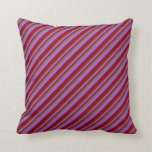 [ Thumbnail: Dim Gray, Orchid, and Dark Red Stripes Pattern Throw Pillow ]