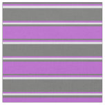 [ Thumbnail: Dim Gray, Orchid & Lavender Colored Stripes Fabric ]