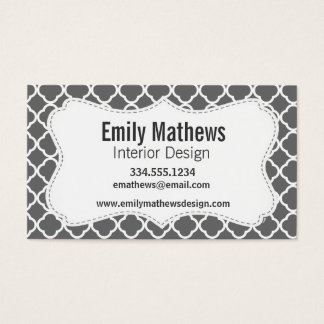 Dim Gray Quatrefoil Business Card