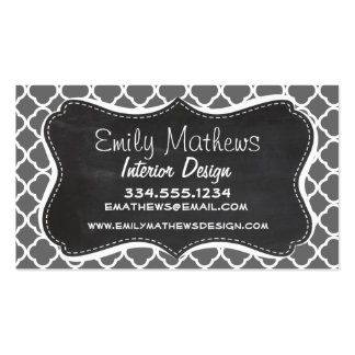 Dim Gray Quatrefoil; Chalkboard look Business Card Template