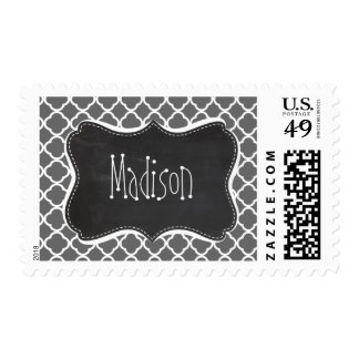 Dim Gray Quatrefoil; Chalkboard look Postage Stamp