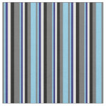 [ Thumbnail: Dim Gray, Sky Blue, Midnight Blue, White & Black Fabric ]