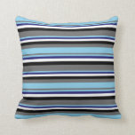 [ Thumbnail: Dim Gray, Sky Blue, Midnight Blue, White & Black Throw Pillow ]
