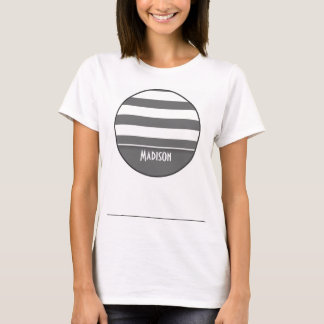 Dim Gray Stripes; Personalized T-Shirt