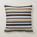 [ Thumbnail: Dim Gray, Tan, Lavender & Black Colored Lines Throw Pillow ]