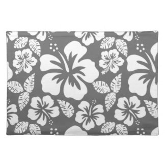 Dim Gray Tropical Hibiscus Cloth Placemat