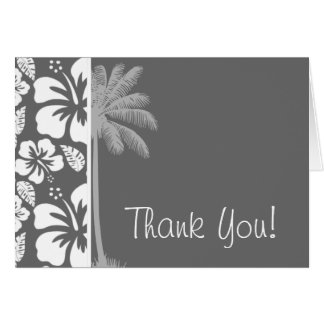 Dim Gray Tropical Hibiscus; Palm Tree Card