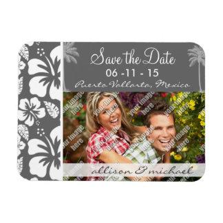 Dim Gray Tropical Hibiscus; Palm Tree Magnet