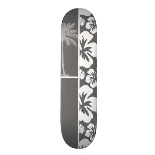 Dim Gray Tropical Hibiscus; Palm Tree Skateboards