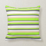 [ Thumbnail: Dim Gray, White, Tan, and Light Green Colored Throw Pillow ]